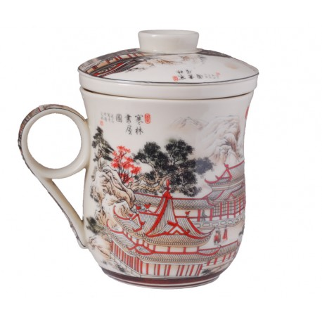 Library in Mountains Scene Teacup w/ Lid and strainer
